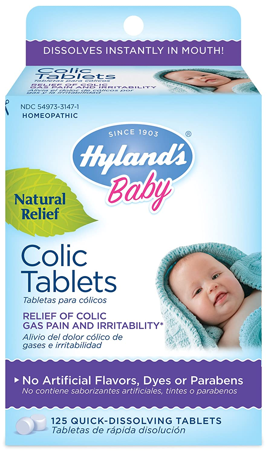 Hyland's Baby Colic Tablets, Natural Relief of Colic Gas Pain and Irritability, 125 Count Hyland' s Homeopathic HYL50227