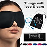 2in1 - Luxuriously soft 3D SLEEP MASK, pleasant touch, PERFECT MAKE UP without defects, 1 pair of HIGH FIDELITY EARPLUGS – give you a blissful SILENCE everywhere - MyTravelUp (Black)