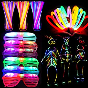 70 Pack Glow Sticks Bulk Party Supplies LED Light Up Toys Glow in The Dark for Kid/Adults with 50 Glow Sticks Necklaces Bracelets 20 Shutter Shades Glasses Neon Birthday New Year Eve Party Favors
