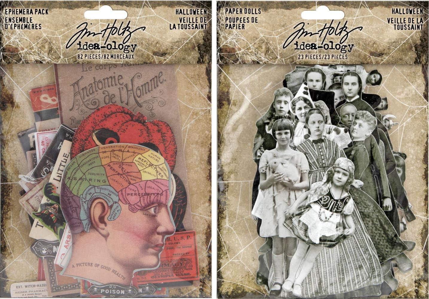 Tim Holtz Idea-Ology 2019 Halloween Ephemera and Halloween Paper Dolls - 2 Item Bundle