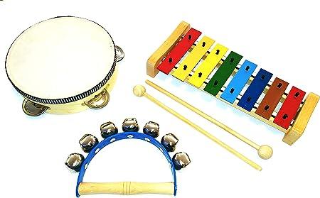 Juego de percusión infantil pequeño, instrumentos infantiles de madera, 3 piezas compuesto por un carillón con 2 mazos de madera, panderín y ...