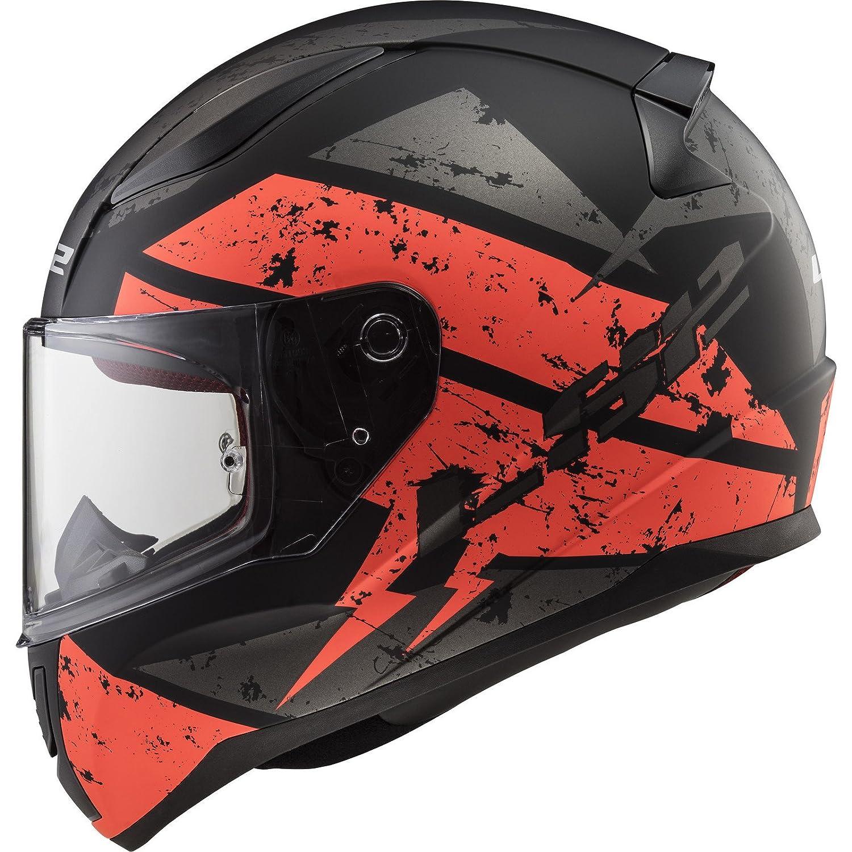 Noir//Orange LS2 Casque moto RAPID DEADBOLT MAT Noir ORANGE M
