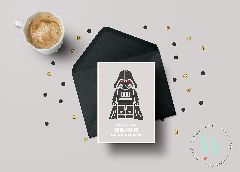 Tarjeta Postal Día del Padre Star Wars . Darth Vader postal de aniversario . Postal cumpleaños StarWars . Tarjeta San Valentín Star Wars