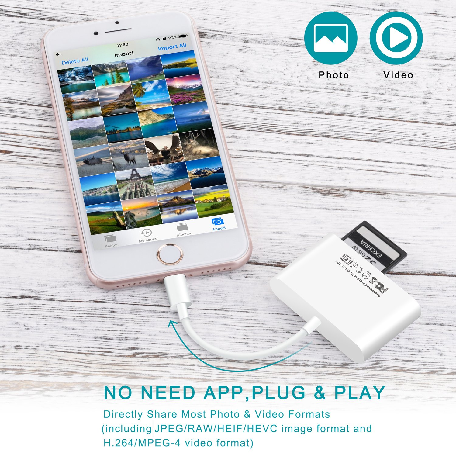 FA-STAR SD Card Reader, Digital Camera Reader Adapter Cable, Lightning to USB Camera Adapter, SD/TF Card Reader, Trail Game Camera Viewer for iPhone/iPad, No App Required, Plug and Play by FA-STAR (Image #5)