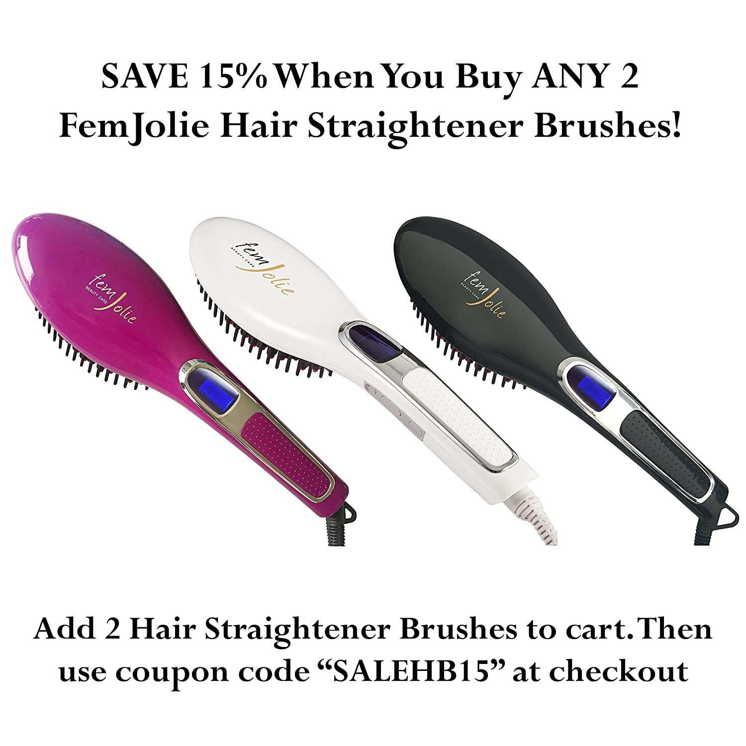 Amazon.com : FemJolie Hair Straightening Brush Best for Beauty Styling (with Glove & Vanity Pouch) 3 in 1 Professional 40W Digital Electric Straightening ...
