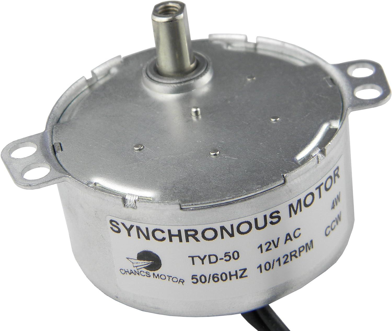Homeswitch TYC-50 Double arbre plat CW//CCW Moteur synchrone /à r/éduction de vitesse non directionnelle AC12 V 8-10 RMP Argent