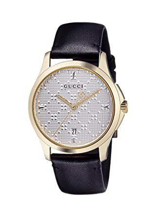 b698373340b Image Unavailable. Image not available for. Color  Gucci G-Timeless SIlver  Dial Mens Leather Watch YA1264027