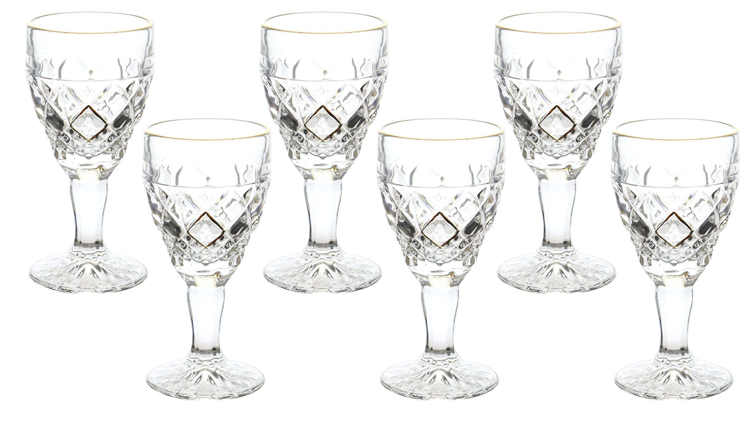 Fine Crystal Clear and Gold Glass Liquor Cordial Shot Glass 6 Piece Gift Set