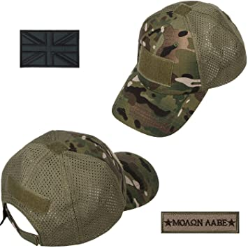 Amazon.com : xhorizon TM FL1 Men Tactical Cap Sport Baseball Military Camouflage Sun Hat Cap with UK Flag Patch : Sports & Outdoors