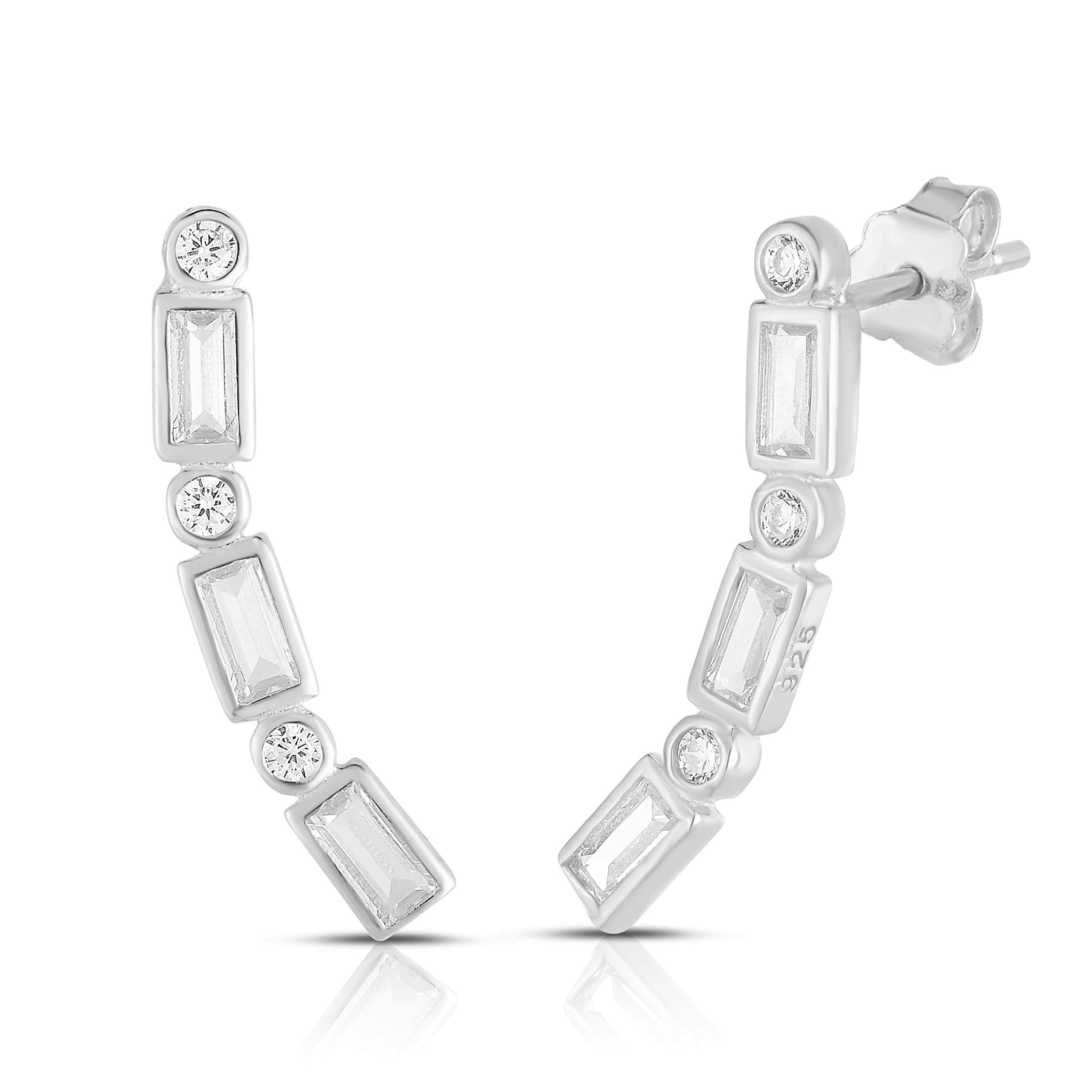 Rhodium Plated Sterling Silver Round and Baguette Cubic Zirconia Ear Crawler Stud Earrings