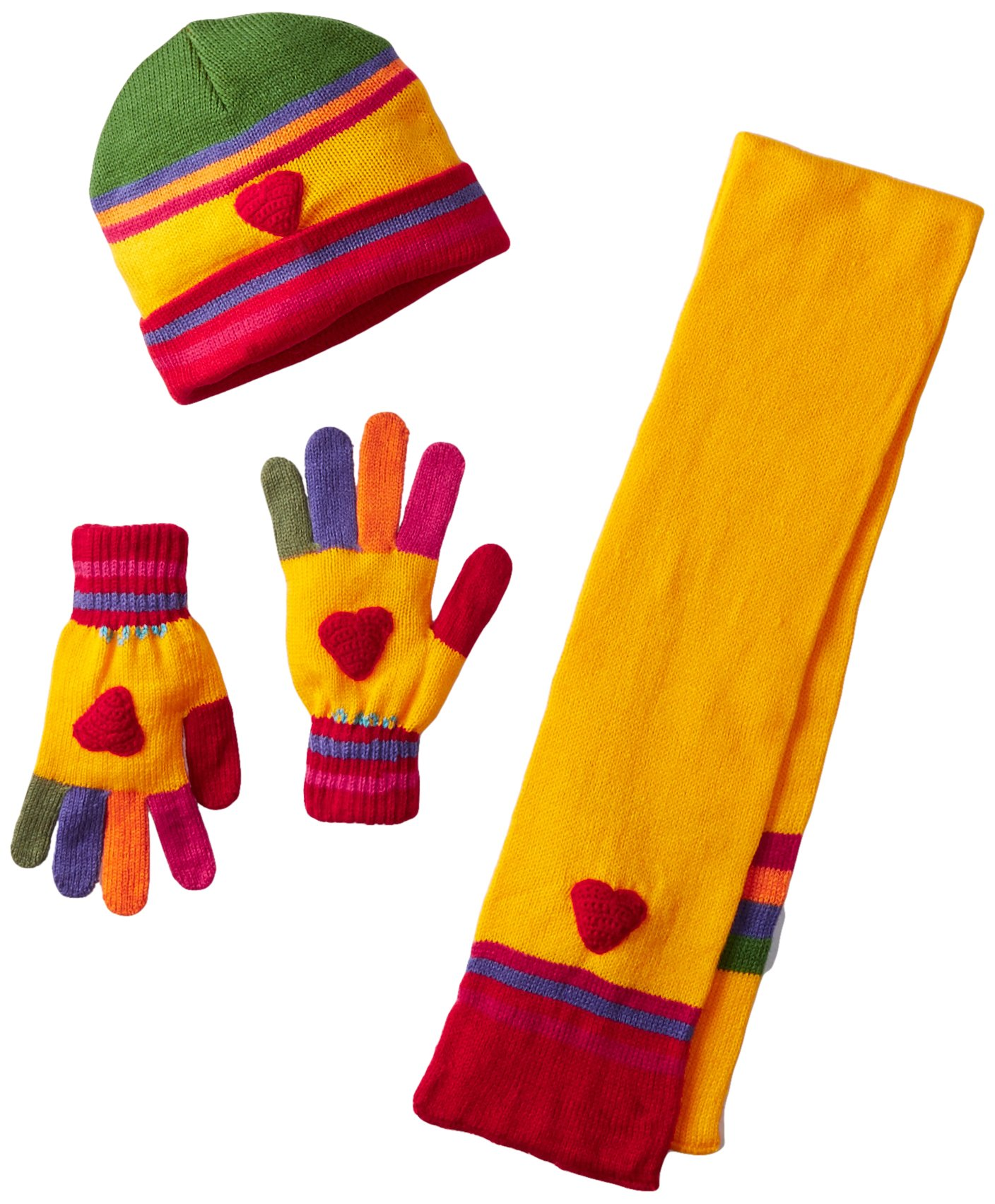 Kidorable Yellow Heart Soft Hat/Scarf/Glove Set for Girls w/Fun Flowers, Multicolor Fingers Ages 6-8