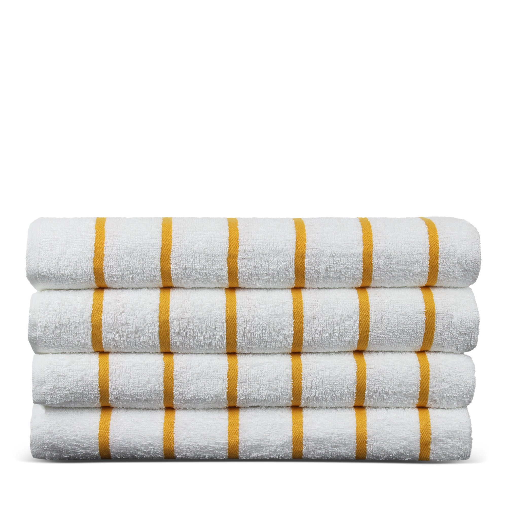 BC BARE COTTON Luxury Hotel & Spa Towel Turkish Cotton Pool Beach Towels - Yellow - Striped - Set of 4