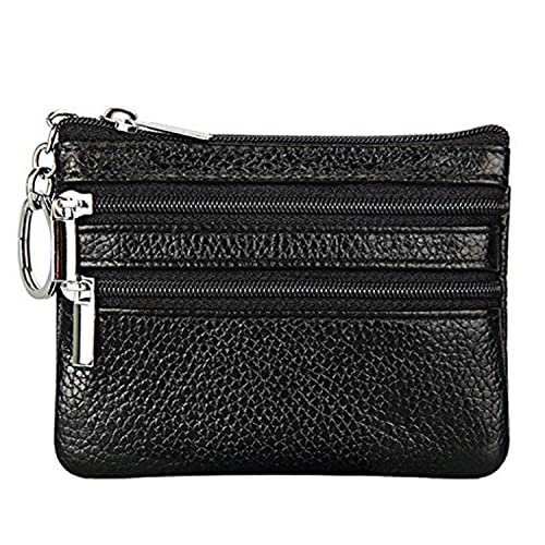Women s Genuine Leather Coin Purse Pouch Change Wallet Car Key Bag with Key  Ring (Black 73a5d9fcfb