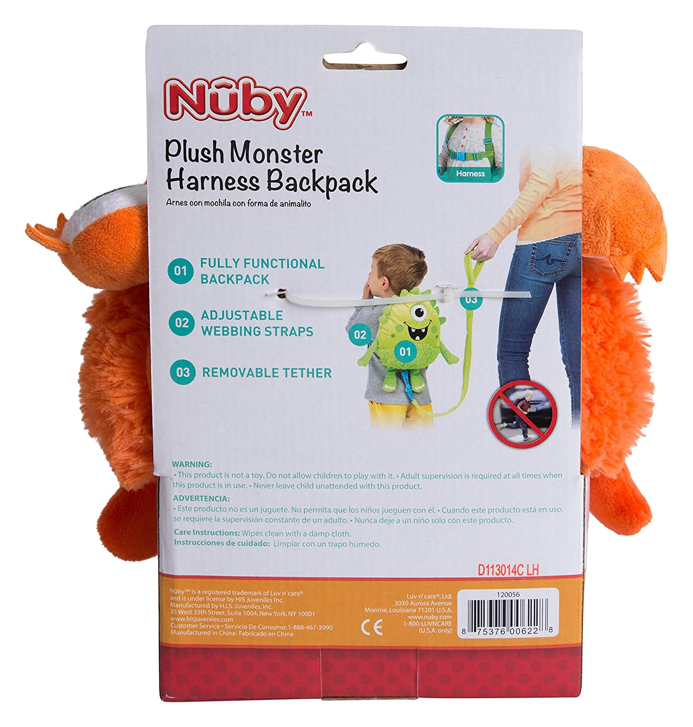Amazon.com : Nuby Plush Baby Backpack with Safety Harness, Orange Monster : Baby
