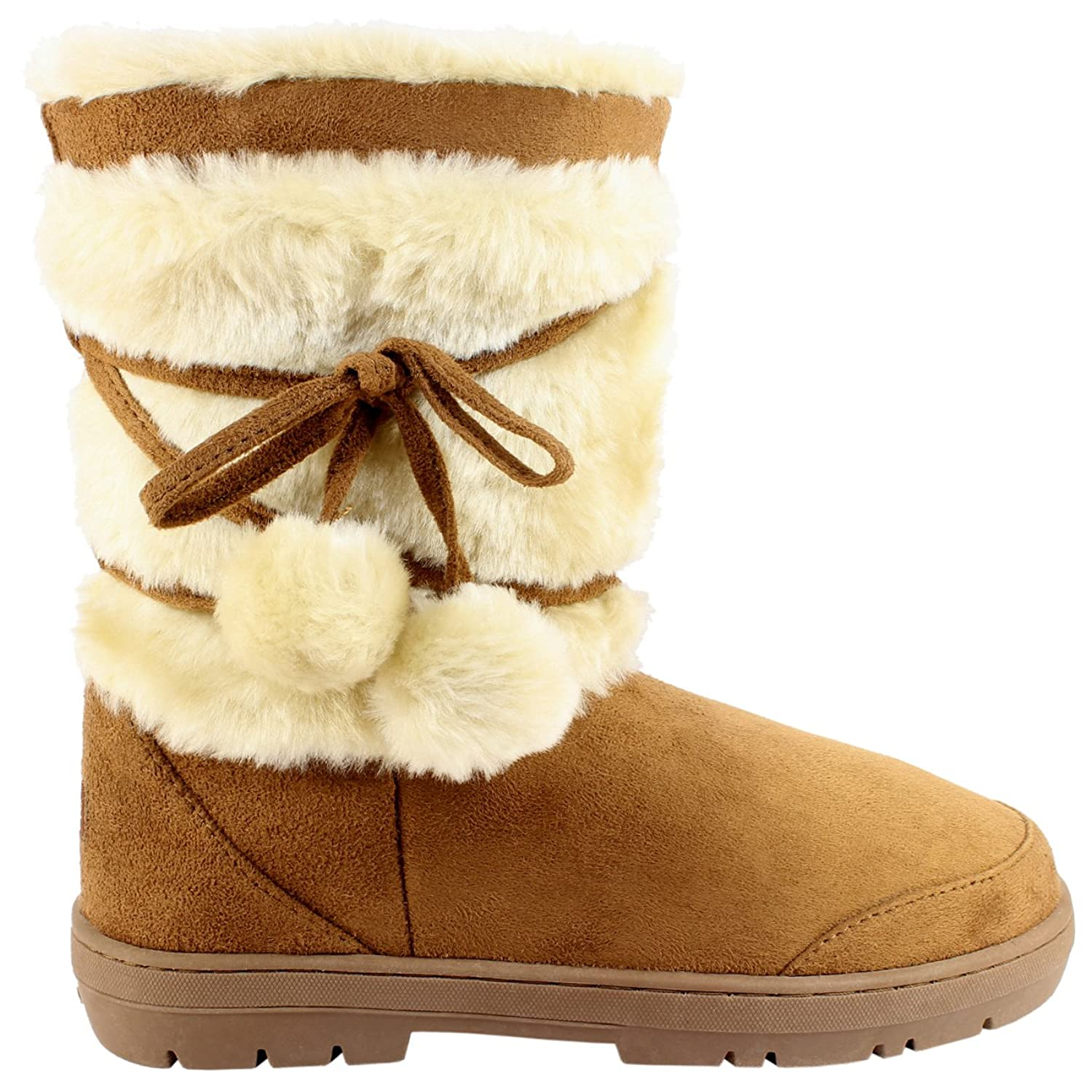 Womens Fur Lined Thick Sole Winter Snow Bobble Boots