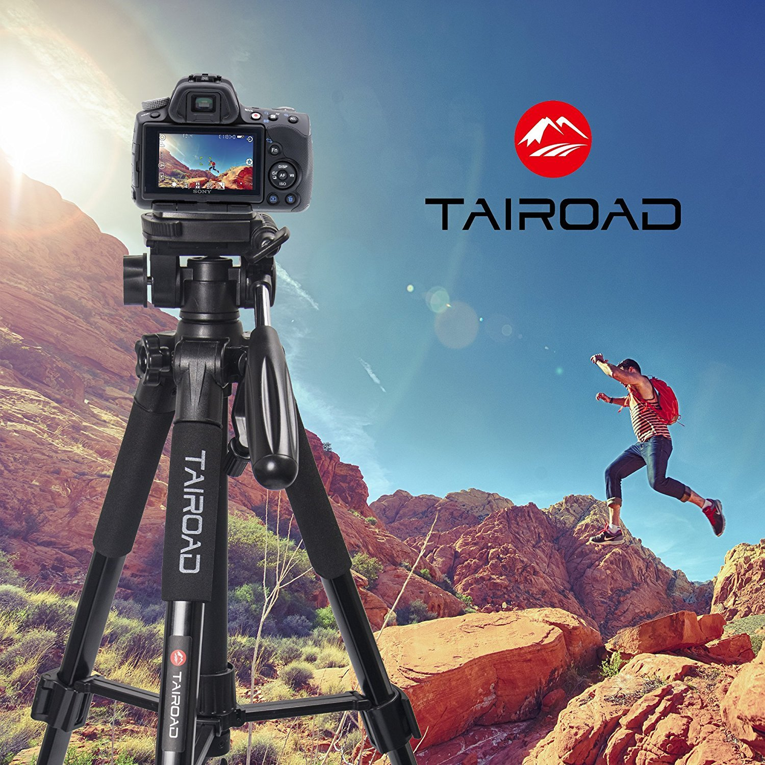 Tairoad Lightweight Tripod Compact Light Tripod with Ball Head and Quick Release Plate for Digital SLR Canon EOS Nikon Sony Panasonic Samsung Black