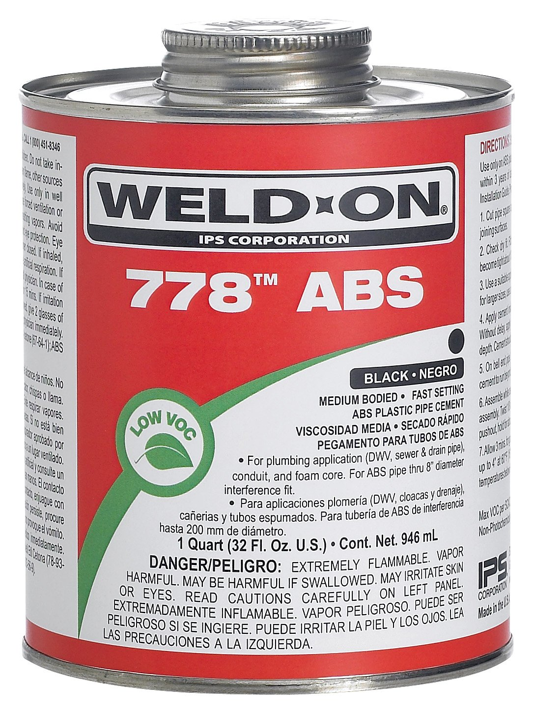 Weld-On 13534 Black 778 Medium-Bodied ABS Professional Plumbing-Grade Cement, Fast-Setting, Regular-VOC, 1 pint Can with Applicator Cap