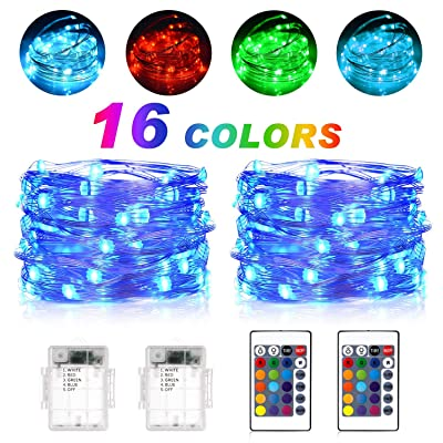 Fairy Lights Battery Operated String Lights SUNNEST 2 Set 16.4FT 50 LEDS 16 Colors Waterproof Timer Twinkle Lights 24-Key Remote Control for Christmas Wedding Party Garden Patio Indoor Room Decor : Garden & Outdoor