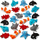 Kicko Sea-Life Plush Toys - 3 Inches - 24 Assorted Pieces - for Kids, Babies, Adults, Decorations, Bedtime, Sleep, Play, and Education