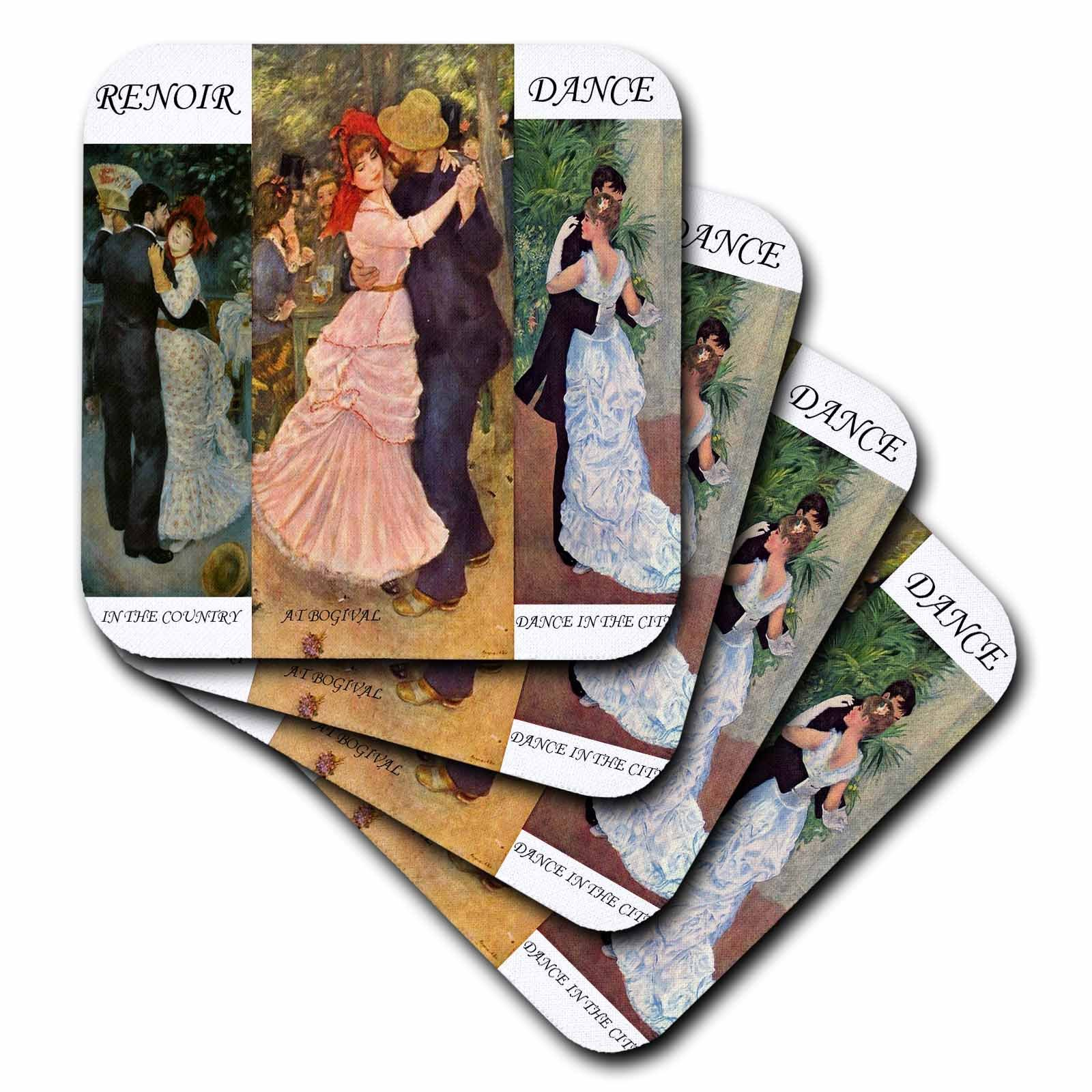 3dRose cst_49362_1 Collage of Renoirs Dance Paintings Soft Coasters, Set of 4