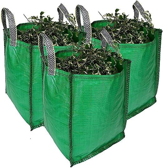Bolsas de basura para jardín – 120 litros, de 1 a 5 sacos – grado premium, tela industrial y asas – sacos de residuos de jardín/verde resistente: Amazon.es: Bricolaje y herramientas