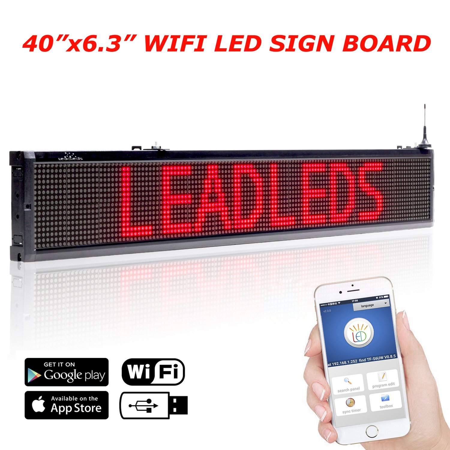 Leadleds 40x6.3 Inches Wifi Scrolling LED Sign Red Message Display Board, Storefront LED Sign Board for Business, Free App Working with Smartphone and Tablet