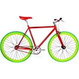 FabricBike-Fahrrad Fixie Rot, Starre Nabe, Single Speed, Fixed Gear, Fixie Bike, Rahmen aus Hi-Ten Stahl, 10 Kg