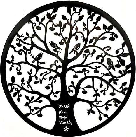 Amazon Com Bellaa 21925 Tree Of Life Metal Wall Art 24 Inch Faith Love Hope Family Inspirational Everything Else