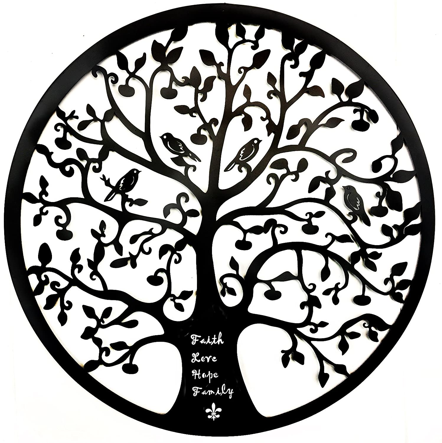 Bellaa 21925 Tree of Life Metal Wall Art Hanging Garden Iron Sculpture 24""
