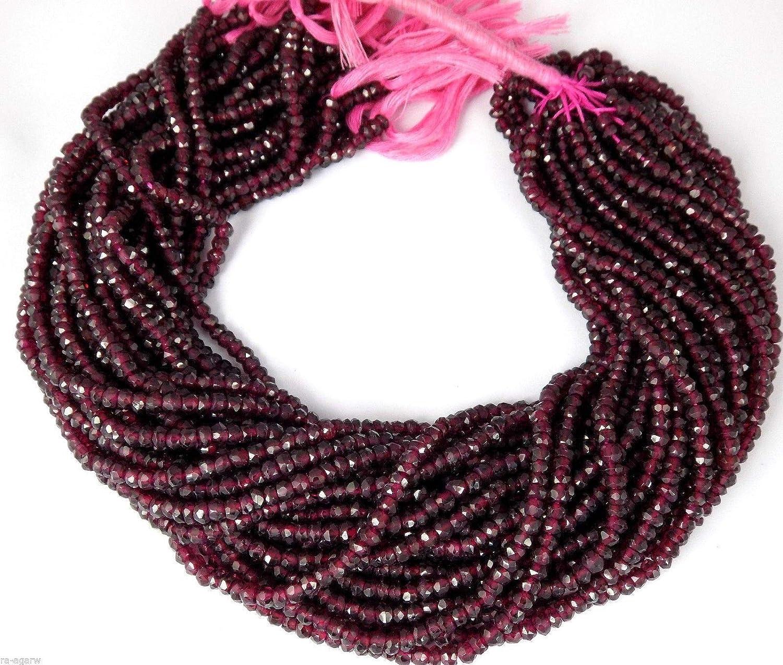 Mughal Gems & Jewellery - 1 Cuerda de rodolite de Granate facetado con Perlas de Piedra Preciosa de 3-3,10 mm