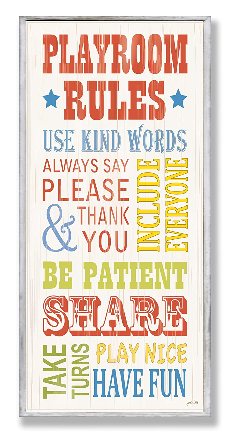 The Kids Room by Stupell Playroom Rules With Banner Skinny Rectangle Wall Plaque, 7 x 0.5 x 17, Proudly Made in USA brp-1412