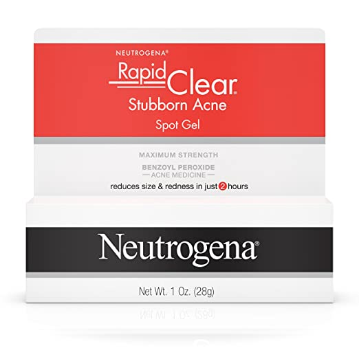 Neutrogena Rapid Clear Stubborn Acne Spot Treatment Gel, Acne Medicine with Maximum-Strength Benzoyl Peroxide for Acne-Prone Skin, 1 oz
