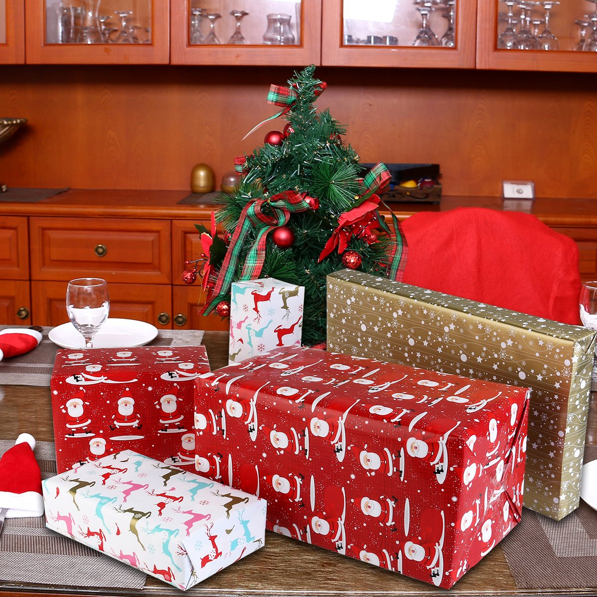 Amazon.com: Wrapping Paper Christmas Wrapping Paper Red Gold ...