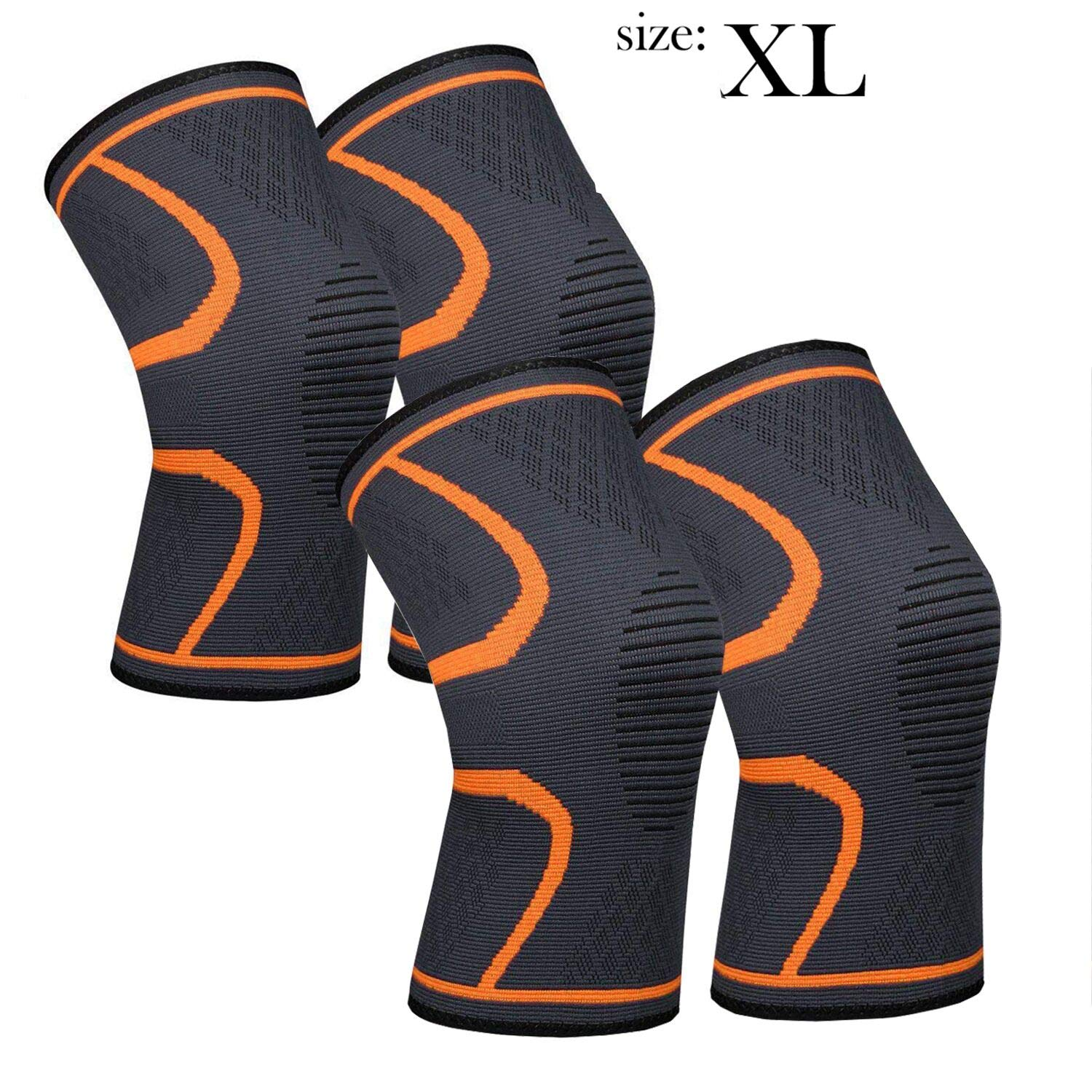711TEK Knee Sleeves, Knee Brace for Joint Pain and Arthritis Relief, Improved Circulation Compression - Wear Anywhere(Orange-XL-4Pcs)