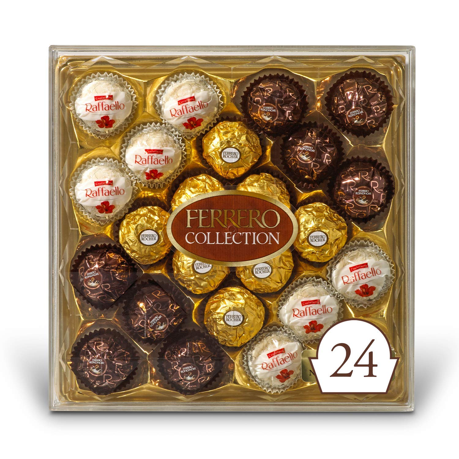 Ferrero Rocher Collection, Fine Hazelnut Milk Chocolates, 24 Count Gift Box, Assorted Coconut Candy and Chocolates, 9.1 Oz, Perfect Mother's Day Gift for Mom