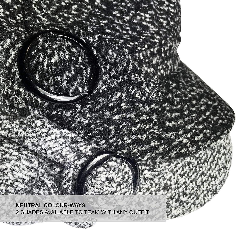 TOSKATOK/® Ladies Womens Girls Tweedy Lined Baker Boy Newsboy Quilted Adjustable Peaked Cap