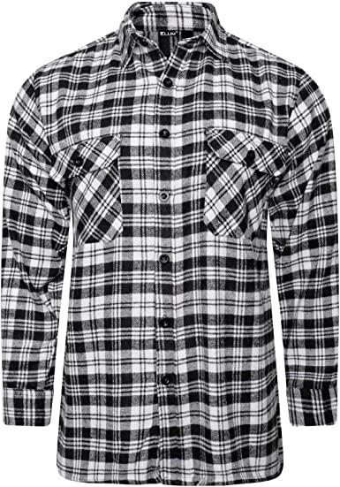 Mens Flannel Brushed Cotton Shirts Lumberjack Checked Print Worker Winter Tops