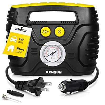 Kensun Portable Air Compressor Pump for Car 12V DC and Home 110V AC Swift Performance Tire Inflator 100 PSI for Car - Bicycle - Motorcycle - Basketball and Others with Analog Pressure Gauge (AC/DC): Automotive