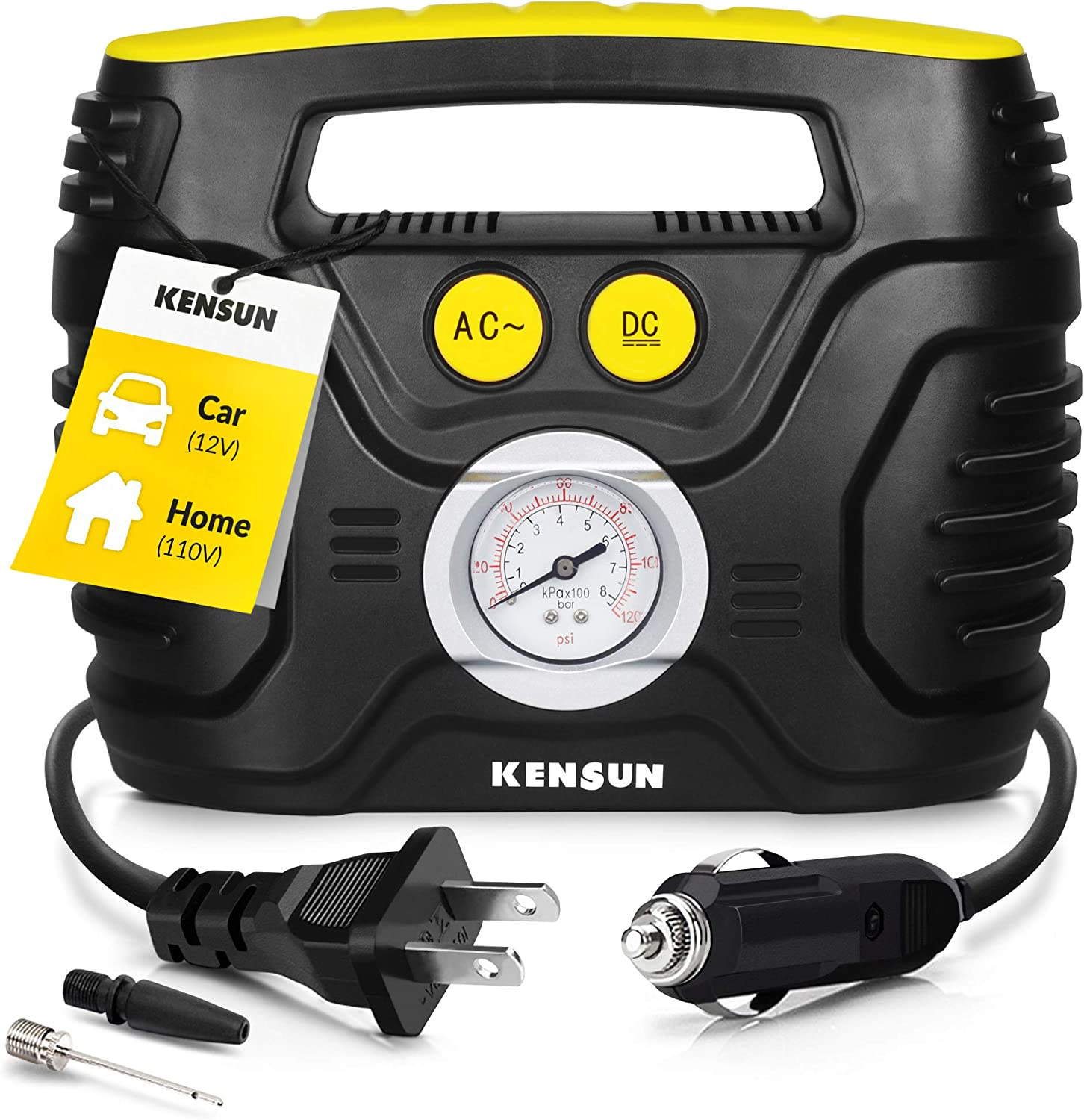 Kensun Portable Air Compressor Pump for Car 12V DC and Home 110V AC Swift Performance Tire Inflator 100 PSI