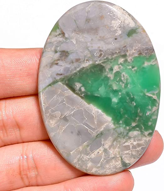 Natural Variscite Cabochon Gemstone Green White Color Oval shape Pendant size Cab 42.95 Cts. 34x25x7 mm