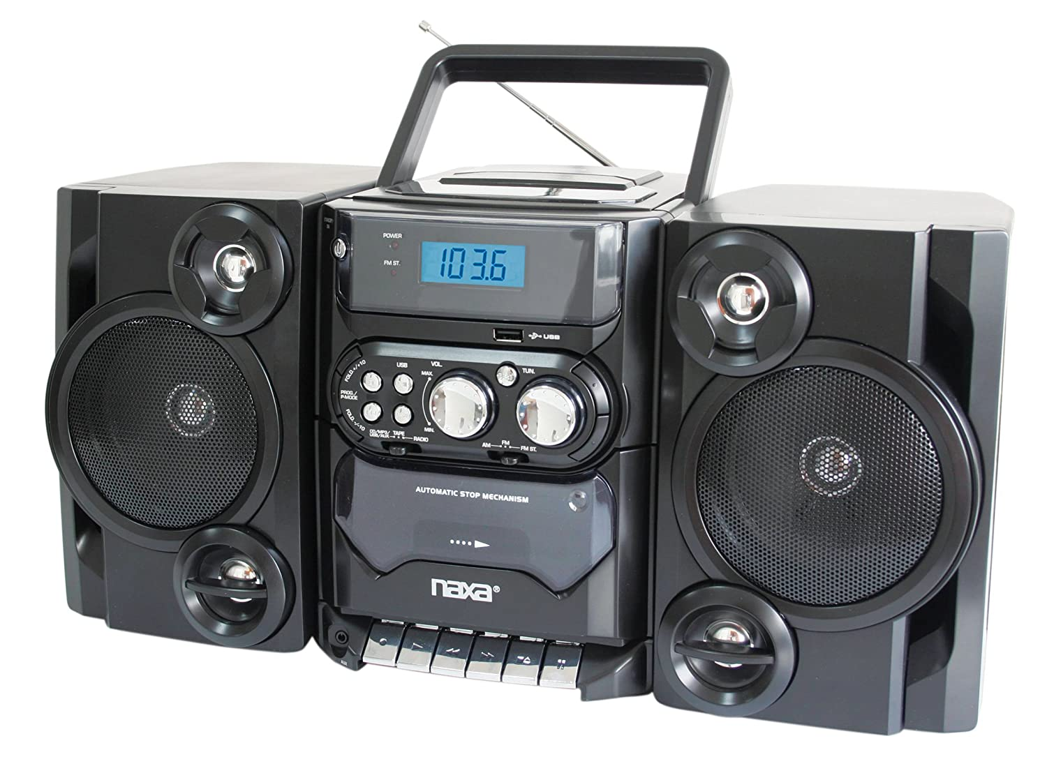 new naxa portable mp3 cd am fm cassette stereo detachable speakers usb remote ebay. Black Bedroom Furniture Sets. Home Design Ideas