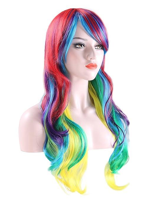 Peluca larga rizada multicolor para mujer, para disfraz de halloween y juegos de rol, peluca sintética resistente al calor, pelo de 70 cm. de longitud.