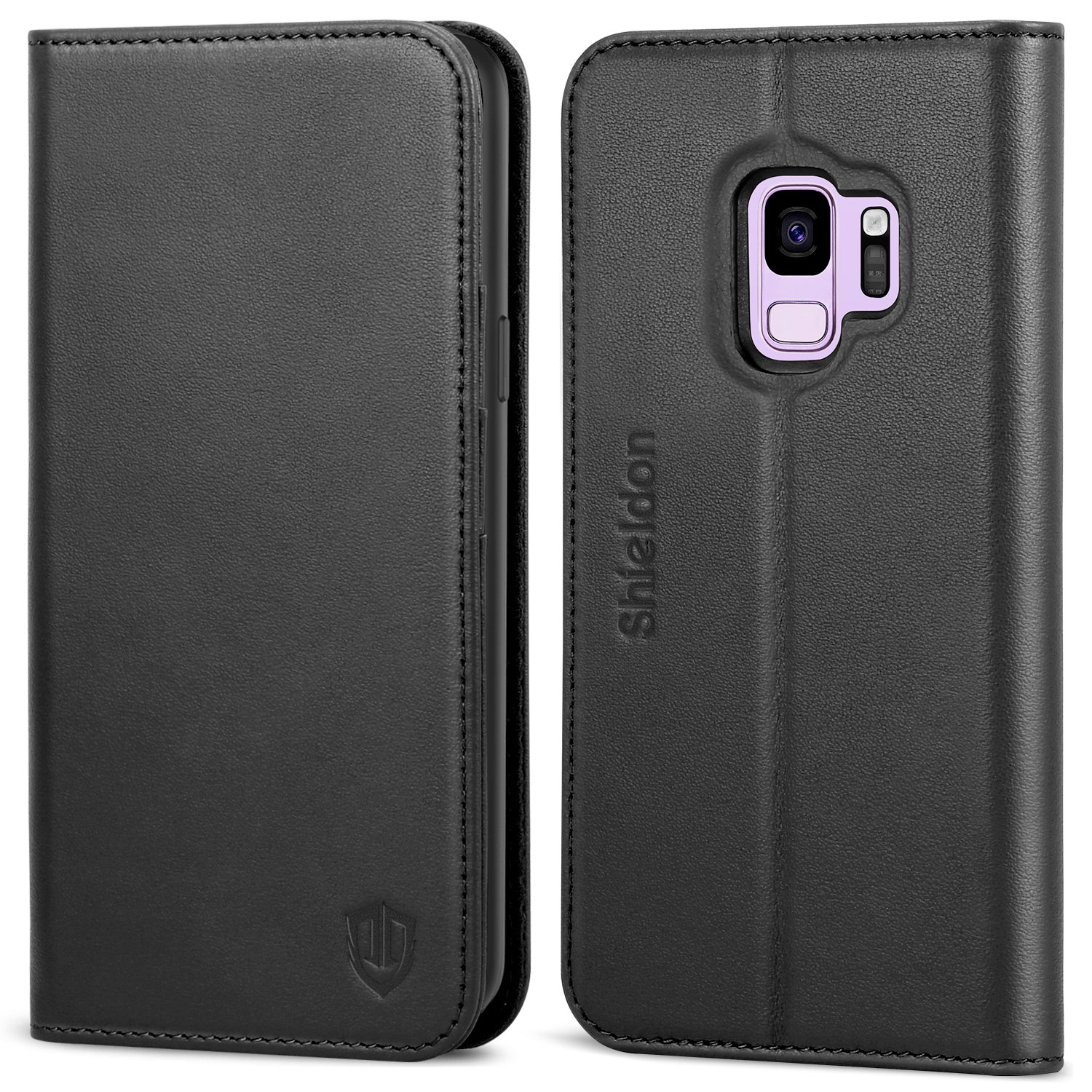 Galaxy S9 Case, SHIELDON Genuine Leather Premium Galaxy S9 Wallet Case [Folio Cover] [Stand Feature] with Credit Card Slots Full Protection Case for Samsung Galaxy S9 5.8'' (2018 Release) - Black