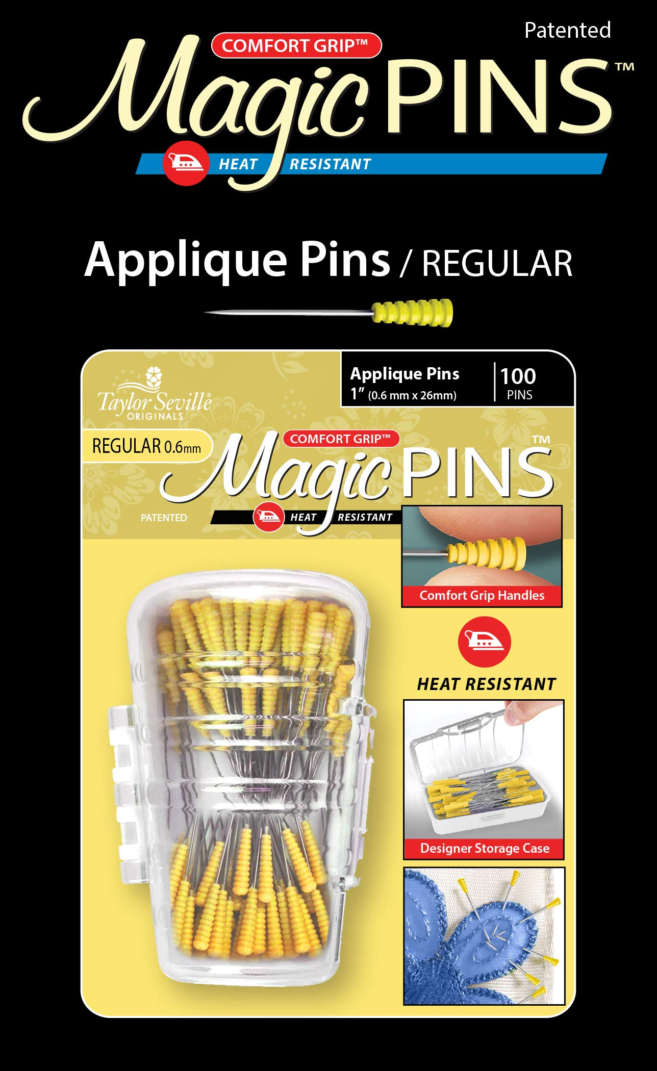 Taylor Seville Originals Comfort Grip Magic Pins Applique Regular -Quilting Supplies-Sewing Supplies-Sewing Notions-100 Count by Taylor Seville Originals