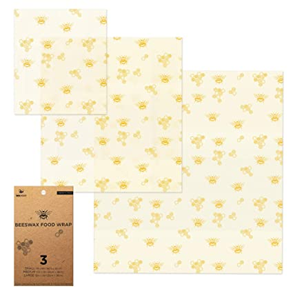 22cf72cd16262 Beeswax Wrap – 3 Reusable Eco Food Wraps. Organic & Sustainable Plastic  Alternative Cloth Bee Wrappers for Kitchen Storage