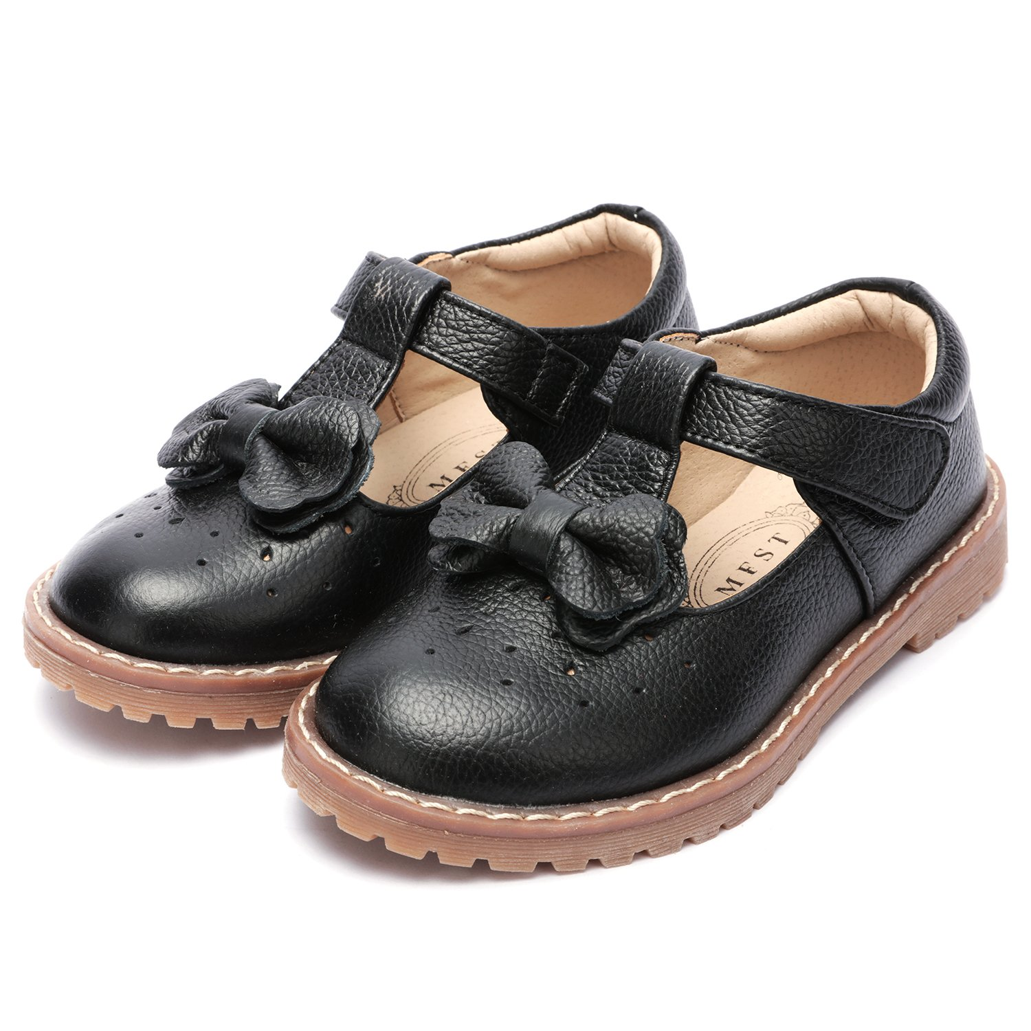 UBELLA Kids Toddler Girl's Retro T-Bar Princess Dress Shoes Leather Strap Mary Jane Flat Oxford Shoes by UBELLA (Image #5)