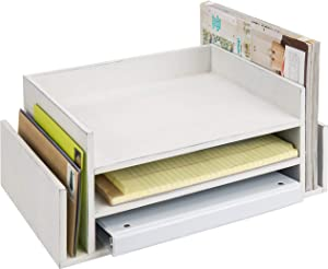 MyGift 3-Tier Vintage White Wood Office Desktop Document Tray & Mail Sorter