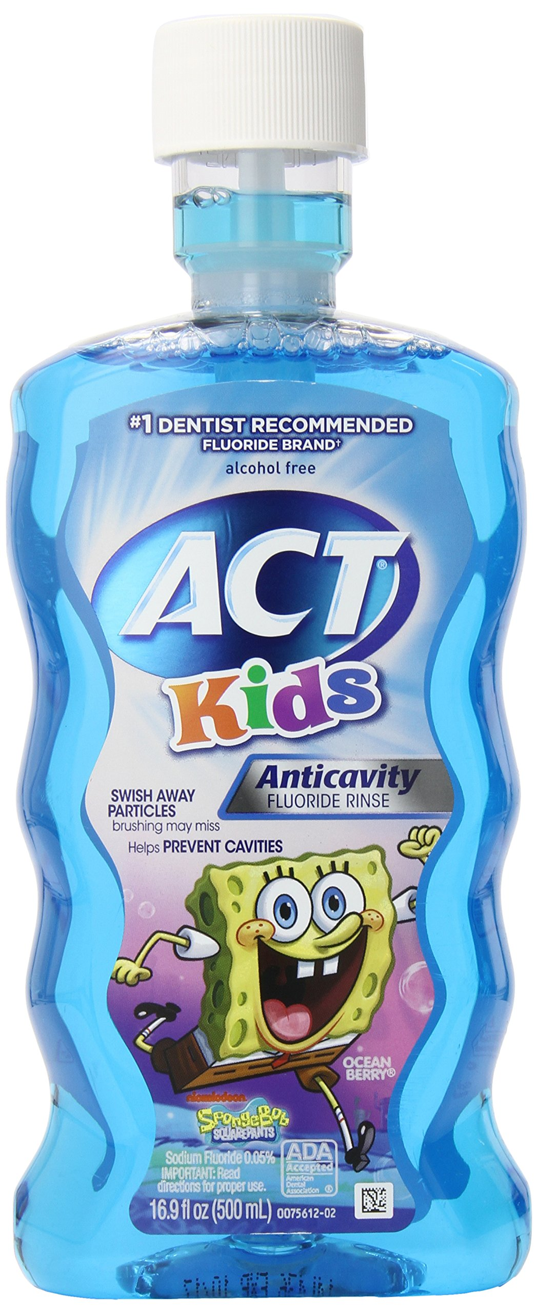 ACT Anti-Cavity Sponge Bob Rinse for Kids, 16.9-Fluid Ounces Bottles (Pack of 6)