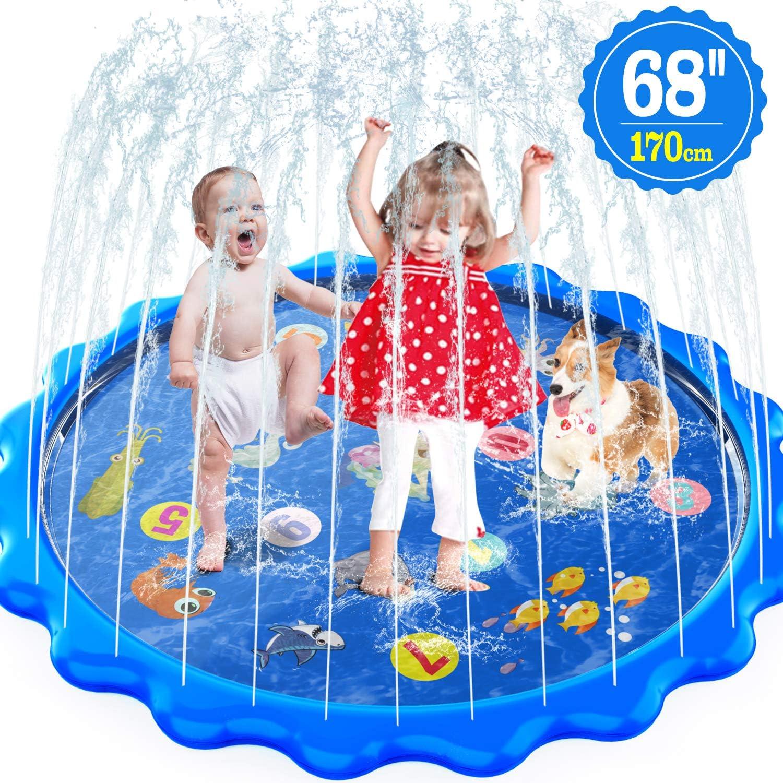MOZOOSON Juguete para Niños-Splash Pad, Piscina para Niños, Tapete de Juegos de Agua 170CM Almohadilla Aspersor de Juego Agua, Aire Libre Fiesta Playa Jardín