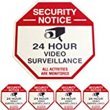 Security Camera Surveillance Sign and 4 Security Stickers / Decals CCTV